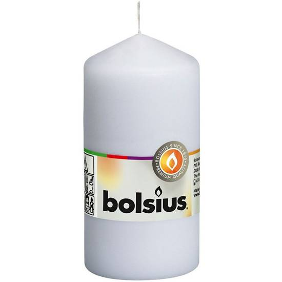 Bolsius świeca bryłowa pieńkowa słupek bezzapachowa 12 cm 120/58 mm - Biała