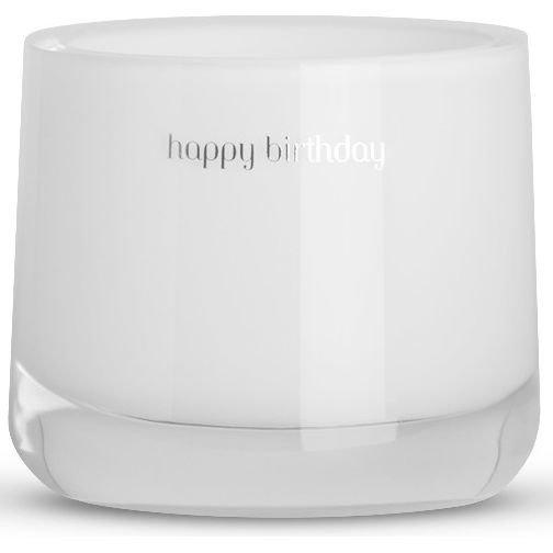 Message Candles White Message Candle świeca zapachowa w szkle biała Happy Birthday - Amber
