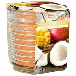 Bispol scented candle ribbed decorative glass 130 g - Mango Coconut