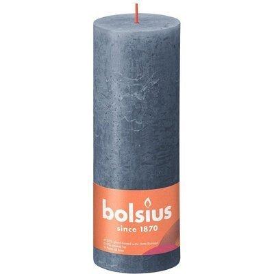 Bolsius Rustic Shine unscented solid pillar candle 190/68 mm 19 cm - Twilight Blue
