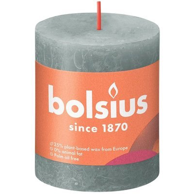 Bolsius Rustic Shine unscented solid pillar candle 80/68 mm - Eucalyptus Green