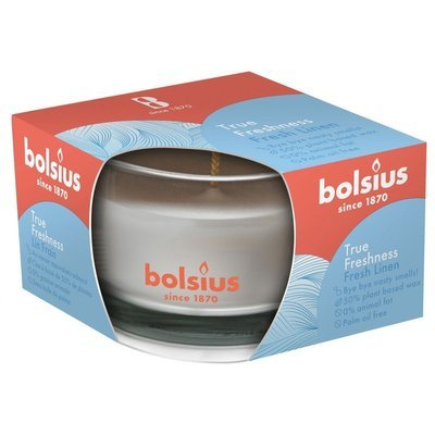 Bolsius medium scented candle in glass 50/80 mm True Freshness white - Fresh Linen