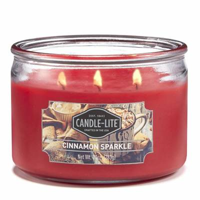 Candle-lite Everyday Collection 3 Wick Terrace Jar Glass Scented Candle 10 oz 283 g - Cinnamon Sparkle