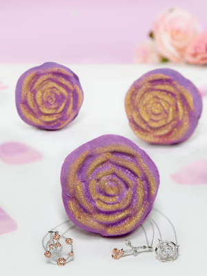 Charmed Aroma Rose jewel bath bomb with Sterling Silver 925 Necklace