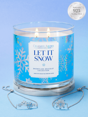 Charmed Aroma jewel soy scented candle with Silver Bracelet 12 oz 340 g - Let It Snow