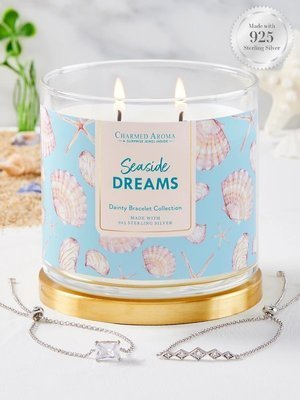 Charmed Aroma jewel soy scented candle with Silver Bracelet 12 oz 340 g - Seaside Dreams