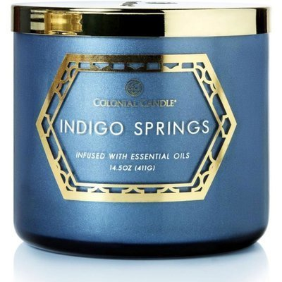 Colonial Candle Luxe large soy scented candle 3 wicks 14.5 oz 411 g - Indigo Springs