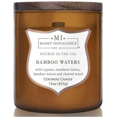 Colonial Candle wooden wick soy scented candle amber 15 oz 425 g - Bamboo Waters