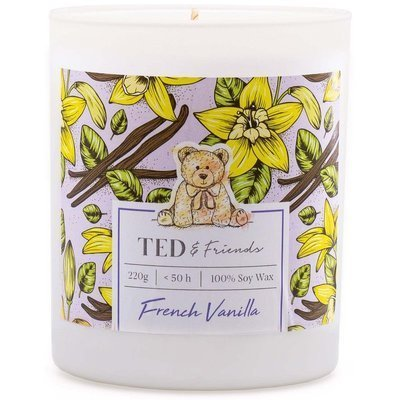 Ted & Friends scented soy candle in white glass 220 g - French Vanilla