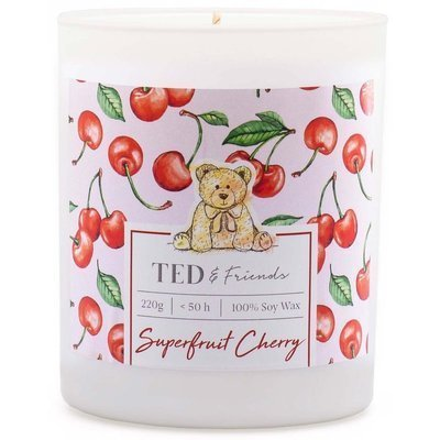 Ted & Friends scented soy candle in white glass 220 g - Superfruit Cherry