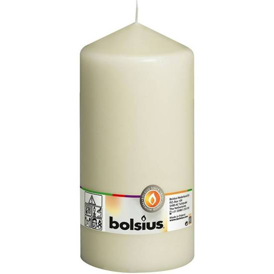 Bolsius pillar unscented solid candle 20 cm 200/98 mm - Ivory