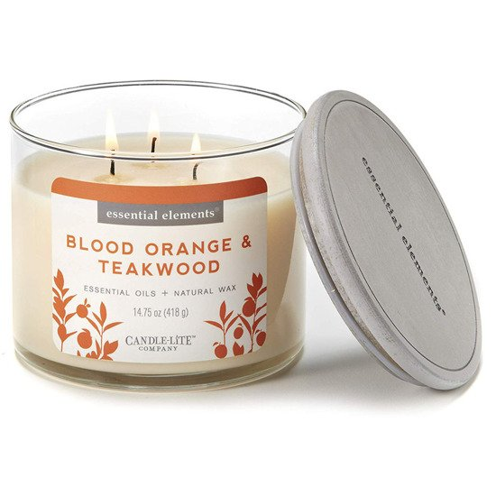Candle-lite Essential Elements 3-Wick Natural Scented Candle Glass Jar 14.75 oz 418 g - Blood Orange & Teakwood