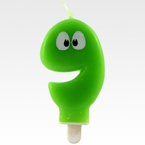 Tamipol świeczka urodzinowa cyferka zielona z oczkami dla dzieci na dziewiąte urodziny - cyfra 9