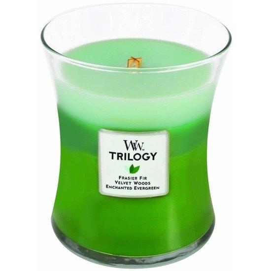 WoodWick Core Medium Trilogy Candle świeca zapachowa trójkolorowa sojowa w szkle ~ 100 h - Forest Walk
