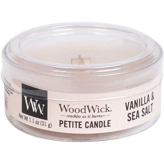 WoodWick Core Petite Small Candle świeca zapachowa typu daylight z drewnianym knotem ~ 15 h - Vanilla & Sea Salt